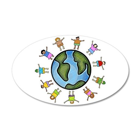 peace love multicultural children Wall Decal