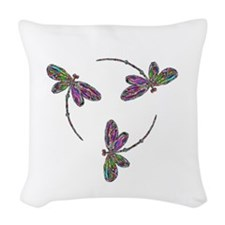 Neon Dragonfly Trinity Woven Throw Pillow