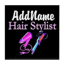 SNAZZY HAIR STYLIST Tile Coaster