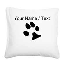 Custom Dog Paw Print Square Canvas Pillow