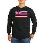 Hawaii Hawaiian Flag Long Sleeve Black T-Shirt