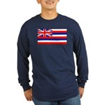 Hawaii Hawaiian Flag Long Sleeve Blue T-Shirt