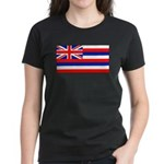 Hawaii Hawaiian Blank Flag Women's Black T-Shirt