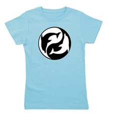 Black And White Yin Yang Dolphins Girl's Tee