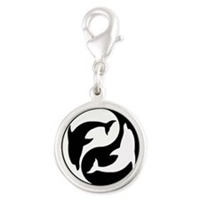 Black And White Yin Yang Dolphins Charms