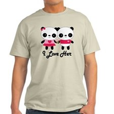 Panda Couple I Love Her T-Shirt