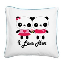 Panda Couple I Love Her Square Canvas Pillow