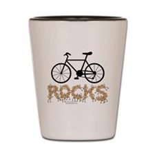 Bicycle Rocks Text Shot Glass