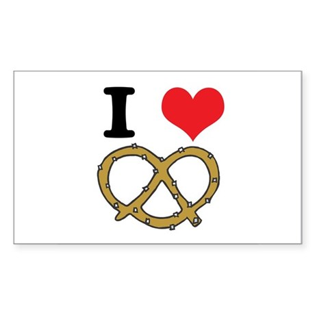 I Heart (Love) Pretzels Rectangle Sticker