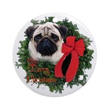 Pug Christmas Ornament (Round)