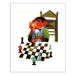 Monkey Playing Chess Posters