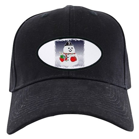 Winter Snowman Black Cap