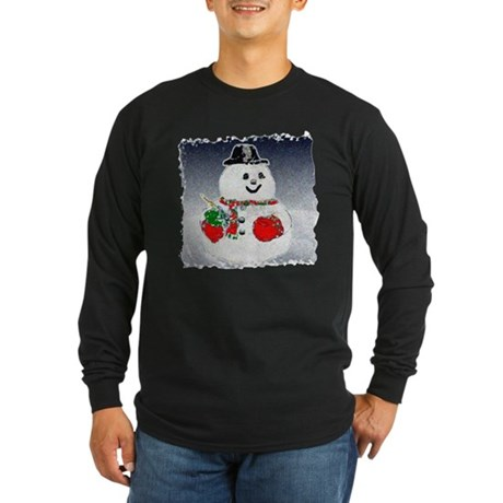 Winter Snowman Long Sleeve Dark T-Shirt