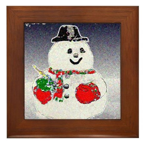 Winter Snowman Framed Tile