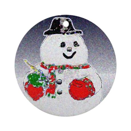 Winter Snowman Ornament (Round)