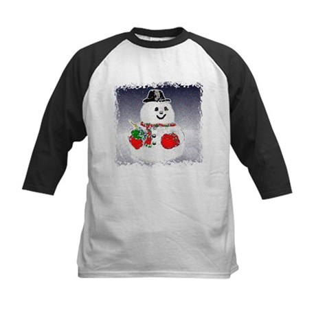 Winter Snowman Kids Baseball Jersey