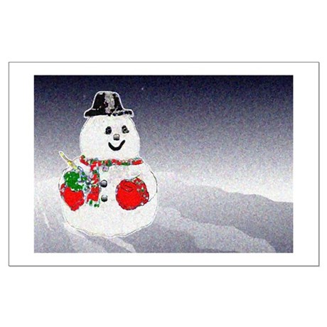 Winter Snowman Large Poster