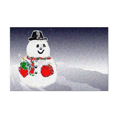 Winter Snowman Mini Poster Print