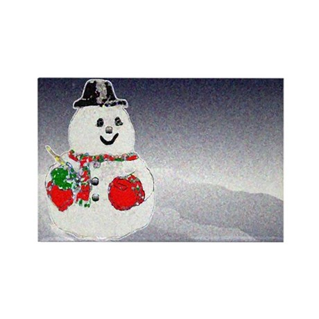 Winter Snowman Rectangle Magnet (100 pack)
