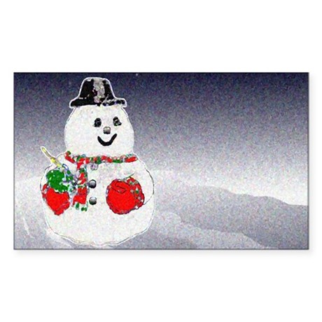 Winter Snowman Rectangle Sticker