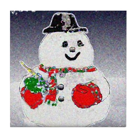 Winter Snowman Tile Coaster