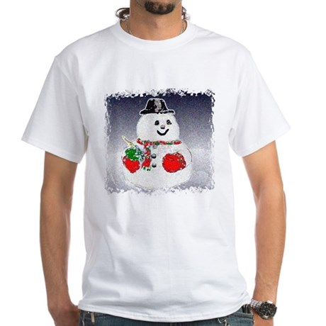 Winter Snowman White T-Shirt
