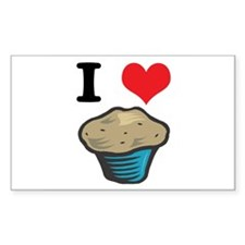 I Heart (Love) Muffins Rectangle Decal