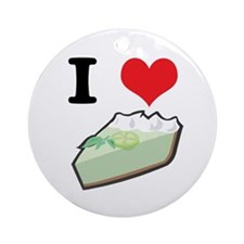 I Heart (Love) Key Lime Pie Ornament (Round)
