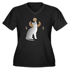 Cute Egyptian mau Women's Plus Size V-Neck Dark T-Shirt