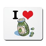I Heart (Love) Green Olives Mousepad
