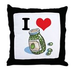 I Heart (Love) Green Olives Throw Pillow