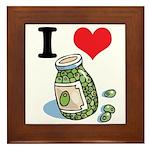 I Heart (Love) Green Olives Framed Tile