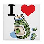 I Heart (Love) Green Olives Tile Coaster
