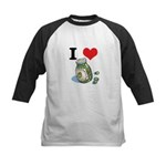 I Heart (Love) Green Olives Kids Baseball Jersey