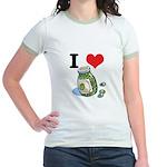 I Heart (Love) Green Olives Jr. Ringer T-Shirt