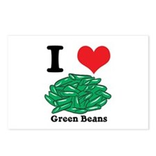 I Heart (Love) Green Beans Postcards (Package of 8