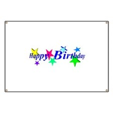 Happy Birthday with Stars Banner