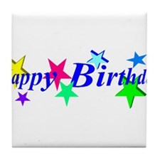 Happy Birthday with Stars Tile Coaster