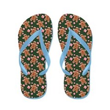 Gingerbread Cookies and Candies on Green Flip Flop