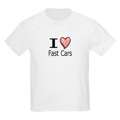I Heart Fast Cars Kids T-Shirt