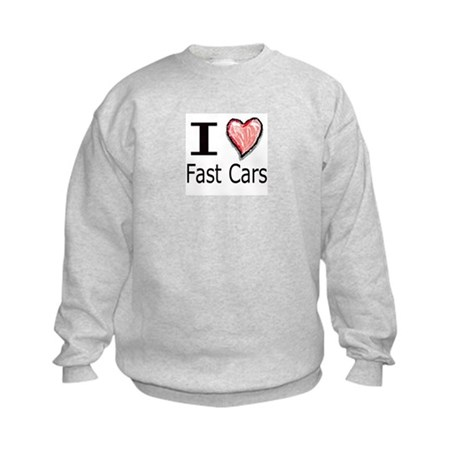I Heart Fast Cars Kids Sweatshirt
