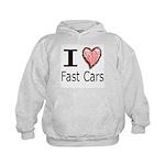 I Heart Fast Cars Kids Hoodie