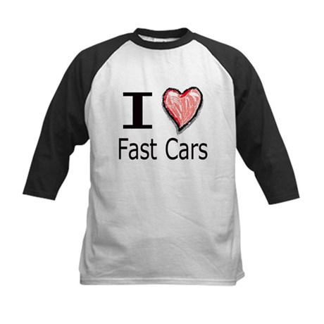 I Heart Fast Cars Kids Baseball Jersey