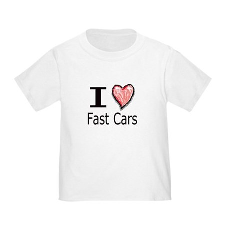 I Heart Fast Cars Toddler T-Shirt