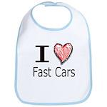 I Heart Fast Cars Bib