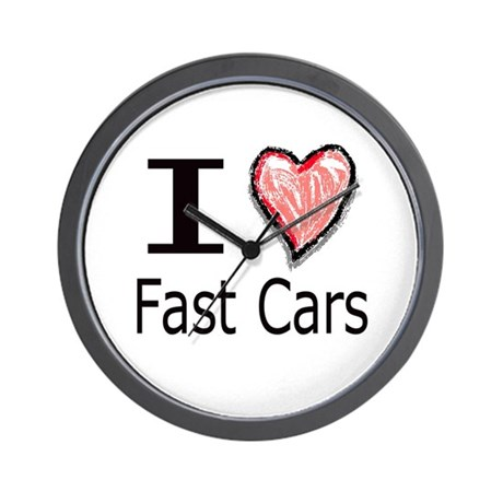 I Heart Fast Cars Wall Clock