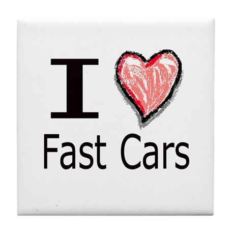 I Heart Fast Cars Tile Coaster