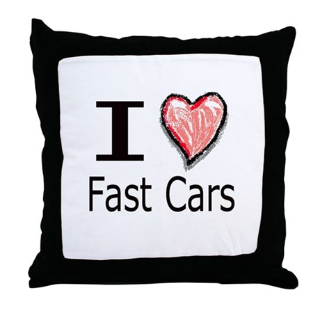 I Heart Fast Cars Throw Pillow