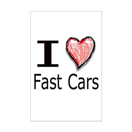 I Heart Fast Cars Mini Poster Print