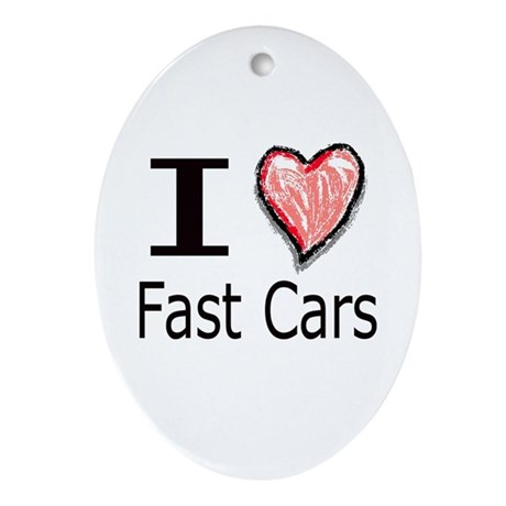 I Heart Fast Cars Oval Ornament